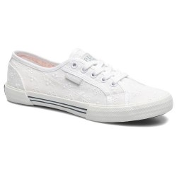 PEPE JEANS - Baskets Aberlady blanches à dentelle