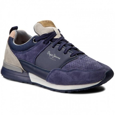 PEPE JEANS - Baskets Boston Leather Light bleues