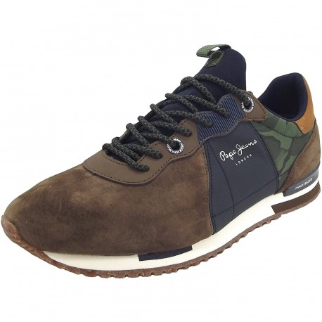 PEPE JEANS - Baskets Tinker Racer Mix marrons